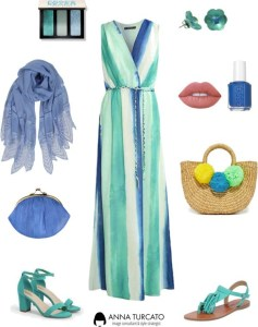 Long dress di annaturcato contenente colorful handbags