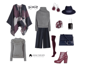 Poncho and cropped pants by annaturcato featuring a ribbed turtleneck