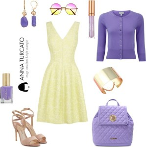 Yellow and violet di annaturcato contenente quilted bags