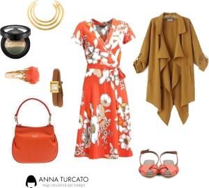 The orange dress di annaturcato contenente statement rings