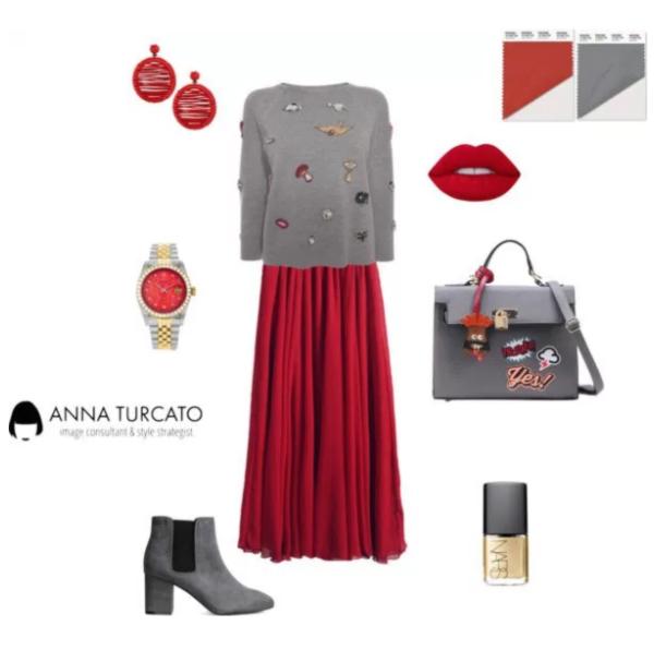 Aurora Red and Sharkskin by annaturcato featuring a handbag satchel