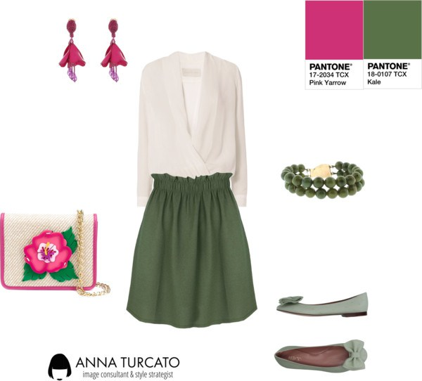 Kale and Pink Yarrow by annaturcato featuring a mini skirt