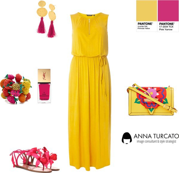 Primrose Yellow and Pink Yarrow by annaturcato featuring a yellow dress