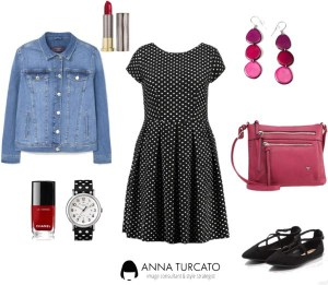 Polka dots look di annaturcato contenente pink earrings