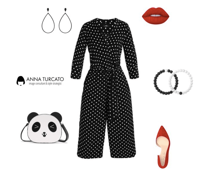 Polka dots jumpsuit by annaturcato featuring a crossbody shoulder bag