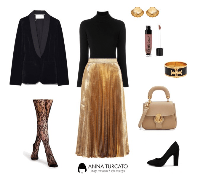 Gold Pleated Skirt di annaturcato contenente Wet n Wild