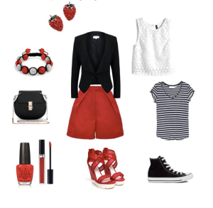 Red pants by annaturcato featuring a clarks footwear