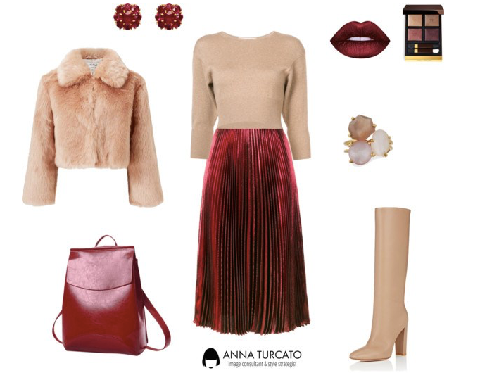 Red pleated skirt by annaturcato featuring a fake fur jacket