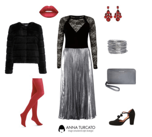 Silver Pleated Skirt di annaturcato contenente leather wallets