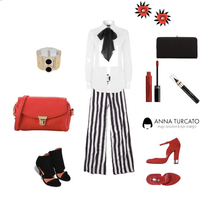 The striped legs by annaturcato featuring a handbag purse
