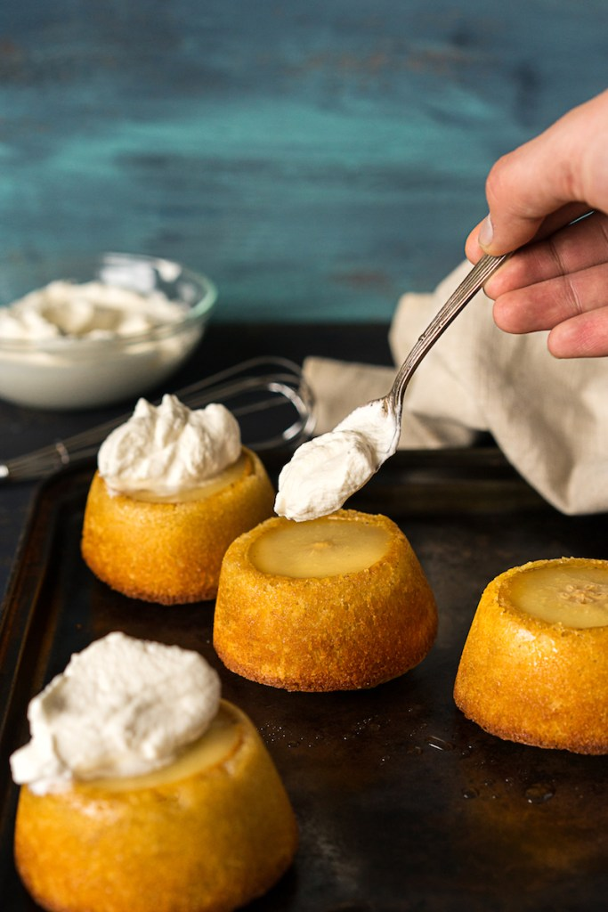 Buttery Pear Mini-Cakes with Whipped Cream