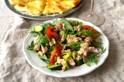Georgian Vegetarian Salad with Walnut Dressing