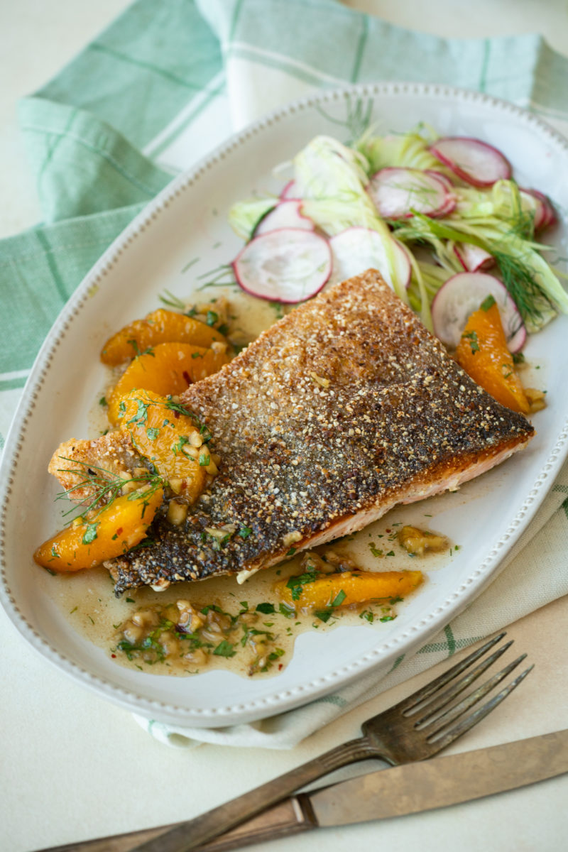Buckwheat crusted salmon with brown butter