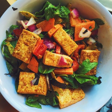 Pan-fried tofu marinated w/ the sauce
