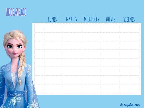 Horarios escolares de Elsa Frozen