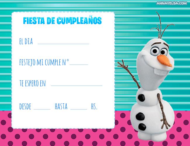 Invitaciones de FROZEN OLAF