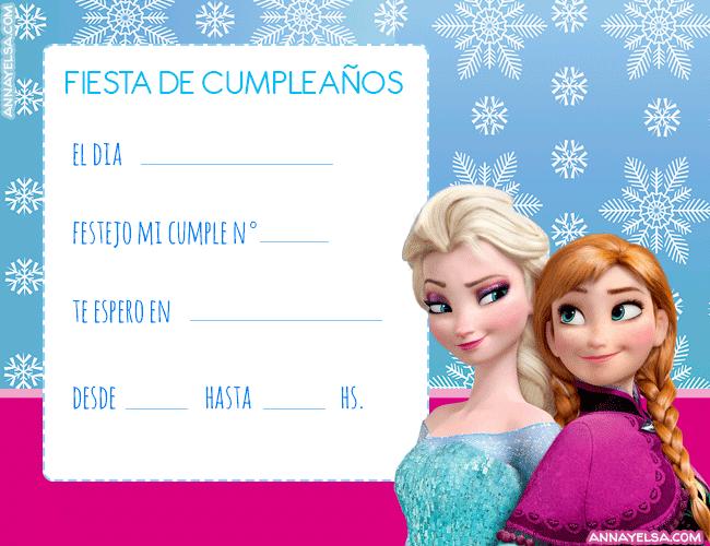 Invitaciones Cumpleanos Frozen Elsa y Anna