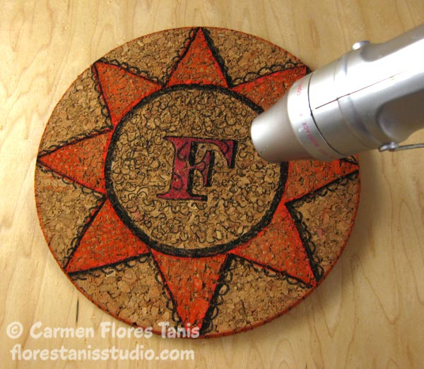 Crafters-Ink-and-EZ-De's-Stamps-Monogramed-Cork-Trivet-Ann-Butler-Carmen-Flores-Tanis-5