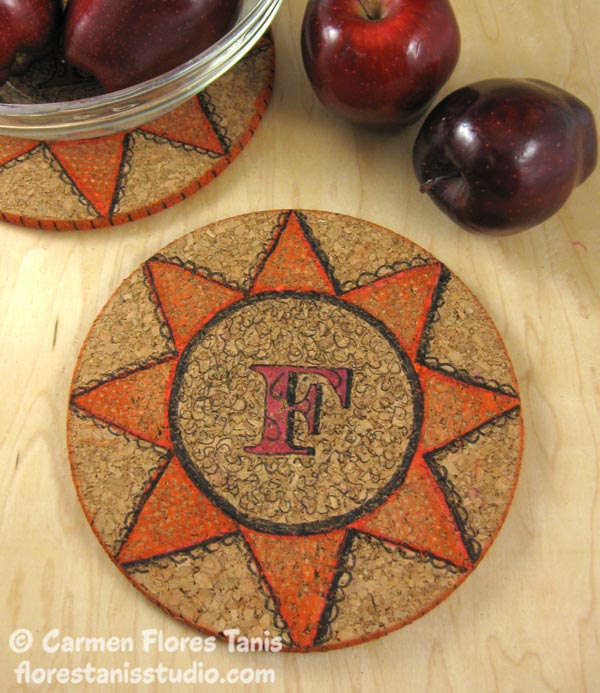 Crafters-Ink-and-EZ-De's-Stamps-Monogramed-Cork-Trivet-Ann-Butler by Carmen-Flores-Tanis