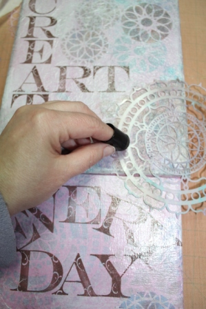 Create ART Everyday - Stenciled, Stamped and Inked Canvas- 013