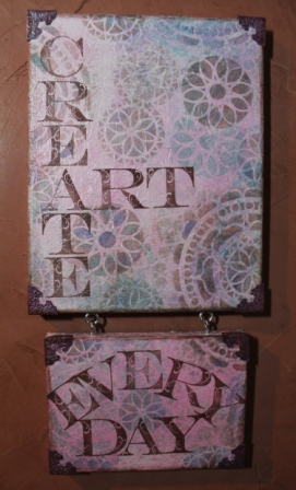 Create ART Everyday - Stenciled, Stamped and Inked Canvas - 036