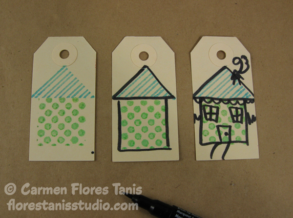 Crafters Ink and Faux Quilting Stamps Little Houses Stamped Gift Tags-by-Carmen-Flores-Tanis