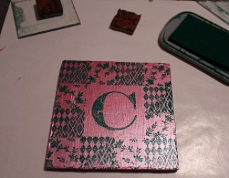 Ann Butler Designs Blog Hopping with ETI Faux Quilted Monogramed Coasters Step 6