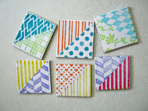 Inchies Magnets with Ann Butler Faux Quilting Stamps