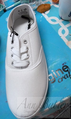 Stamping and Painting on Sneakers