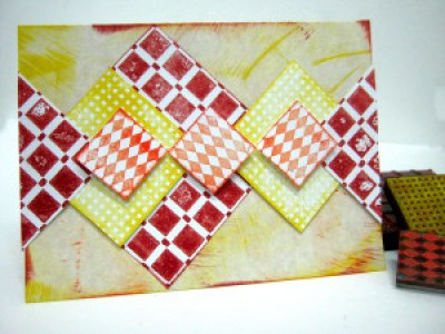 Layered Faux Quilting Squares Card