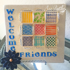 Altered Canvas With Faux Quilting Stamps