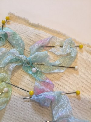 Ribbonry and French knots with Hand Dyed Seam Binding