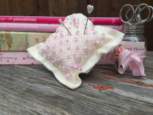 Stamped and Beaded Pretty Little Pincushion
