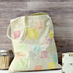 Quick and Easy Stamped Shabby Tote Bag