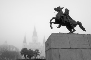 Jackson Square in the Fog by Ann Fisher