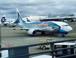 The flying salmon -- love the plane art on Alaska Air!