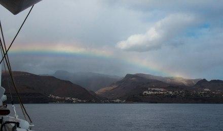 Rainbow sailing into La Gomera