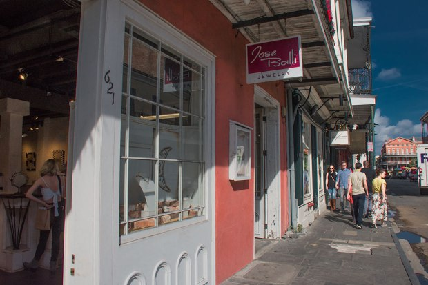 Jose Balli's shop on Chartres Street in the French Quarter, just steps away from Jackson Square.