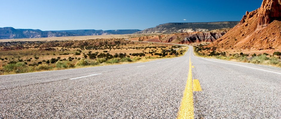 Asphalt highway in New Mexico