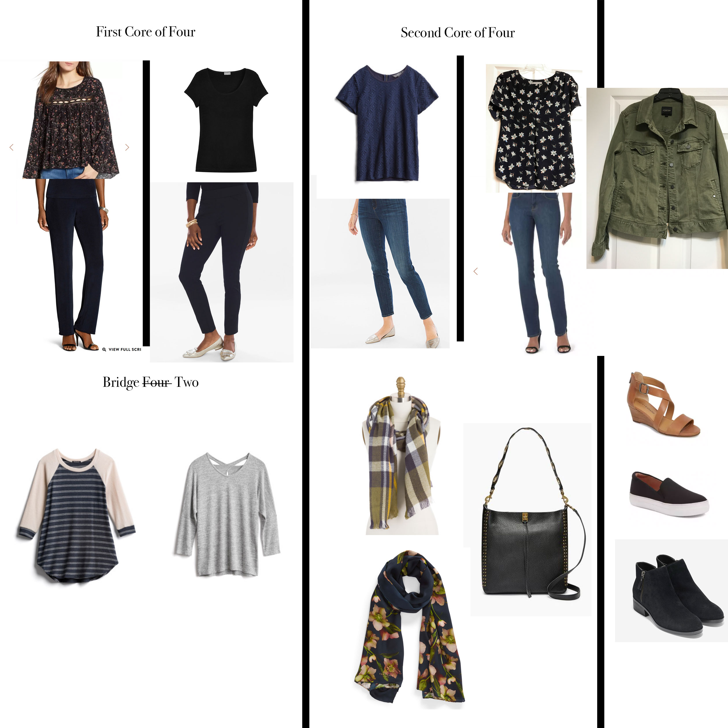 db0befac650 Capsule wardrobe around two dark neutrals  black and indigo blue. Clothes  from Nordstrom