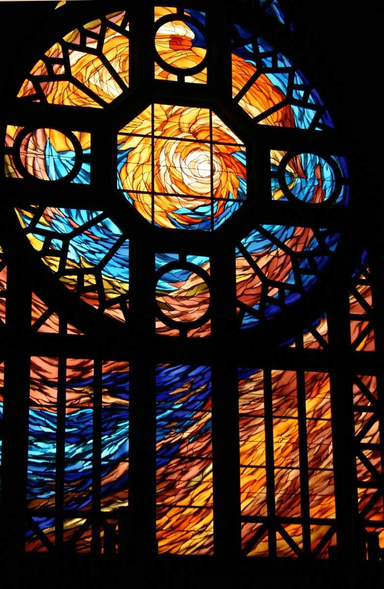 Vitrail plomb ouest 45 m2 Maître verrier Florent Chaboissier 1999