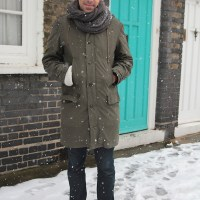 Khaki, a Parka and the Aqua coloured door...Shipton Street, London