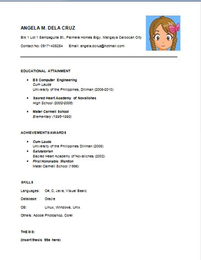 Typical Resume Layout. free download latest resume format ...