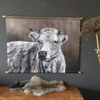 Wanddoek schilderij koe landelijk