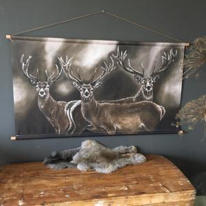 Wanddoek hert herten landelijk stoer schilderij