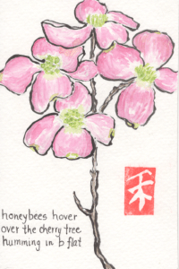Cherry Blossoms watercolor by Anne Burgevin