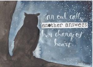 Owl haiku painting