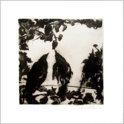 Gravure contemporaine -Fenetre des oiseaux- Theme Le presae imobile Anne Carpena