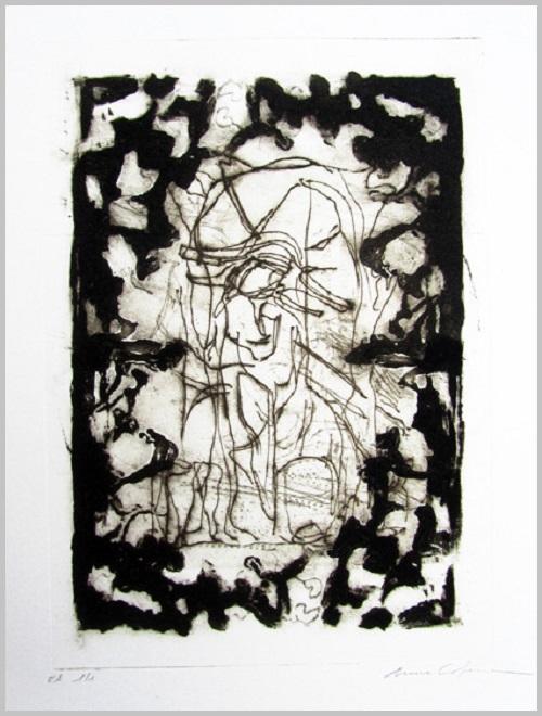 Gravure contemporaine -L apparition de la grotte- Theme Moucharabieh Anne Carpena