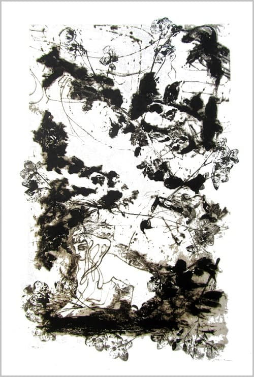 Gravure contemporaine -Le sous-bois d Hellebores- Theme Le presae imobile Anne Carpena